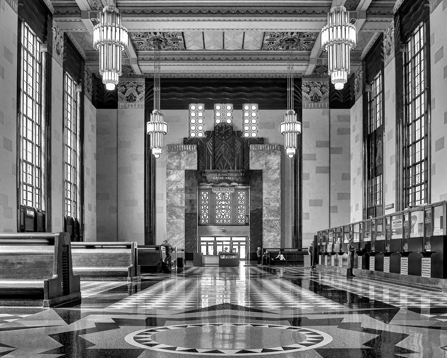 Abstract Photograph - Art Deco Great Hall #1 - Bw by Nikolyn McDonald