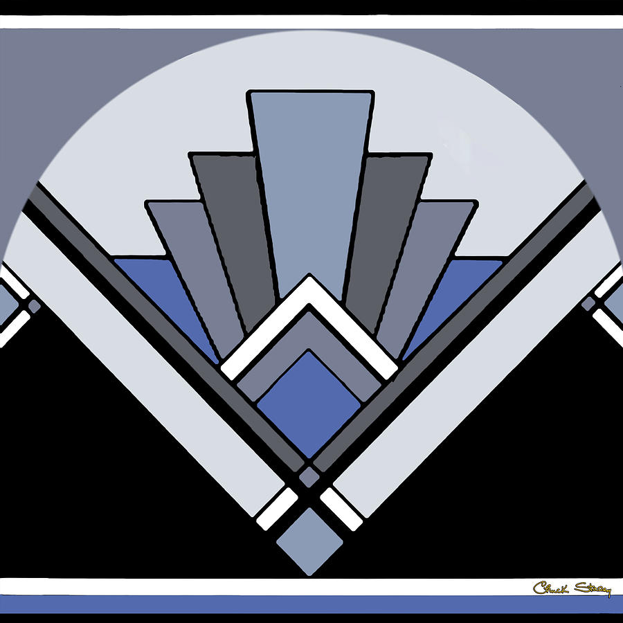 Art Deco Pattern Two - Blue by Chuck Staley