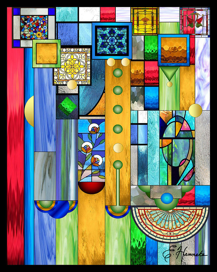 Art Deco Stained Glass Mixed Media - Art Deco Stained Glass 1 by Ellen Henneke