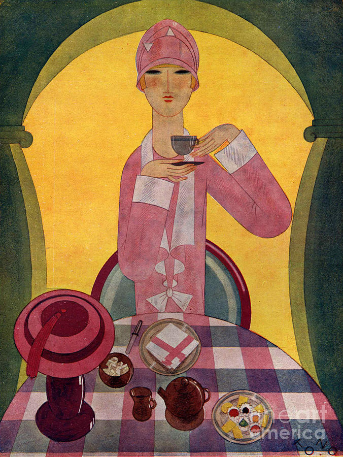 Art deco tea drinking 1926 1920s spain drawing by the - Art deco espana ...