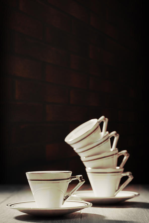 Stack Photograph - Art Deco Teacups by Amanda Elwell