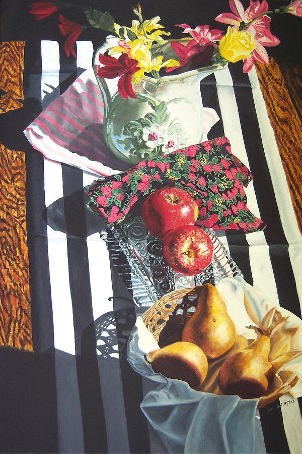 Fruit Painting - art for sale still life oil painting print Stripes and Fruit Forever  by Diane Jorstad