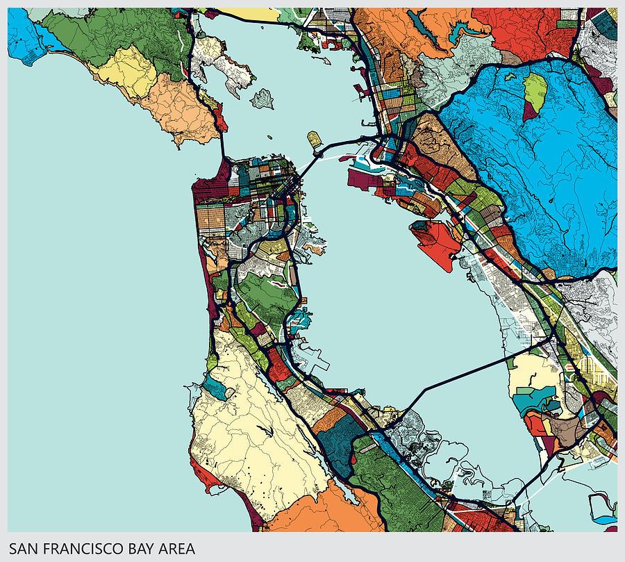 Art Illustration Background San Francisco Bay Area Map By Shuoshu