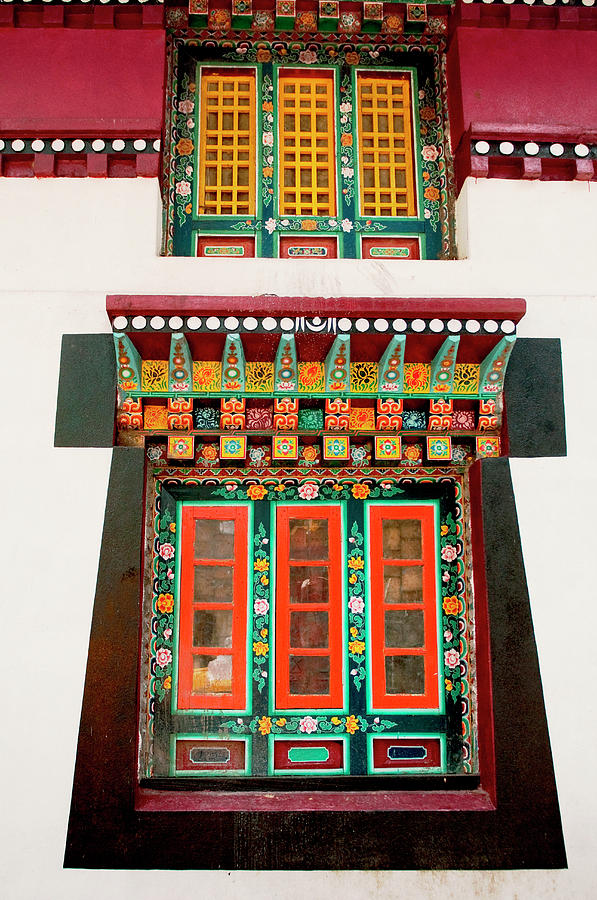 Ancient Photograph - Art In Monastery Architecture, Sikkim by Jaina Mishra