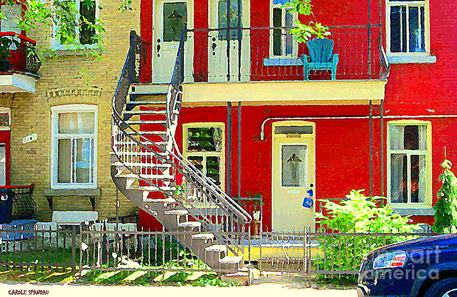 Montreal Painting - Art Of Montreal Upstairs Porch With Summer Chair Red Triplex In Verdun City Scene C Spandau by Carole Spandau