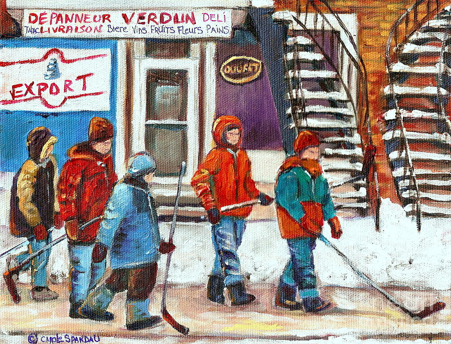 Verdun Painting - Art Of Verdun Depanneur Deli Patisserie Fleuriste Fruits Montreal Paintings Hockey Art Scenes Verdun by Carole Spandau
