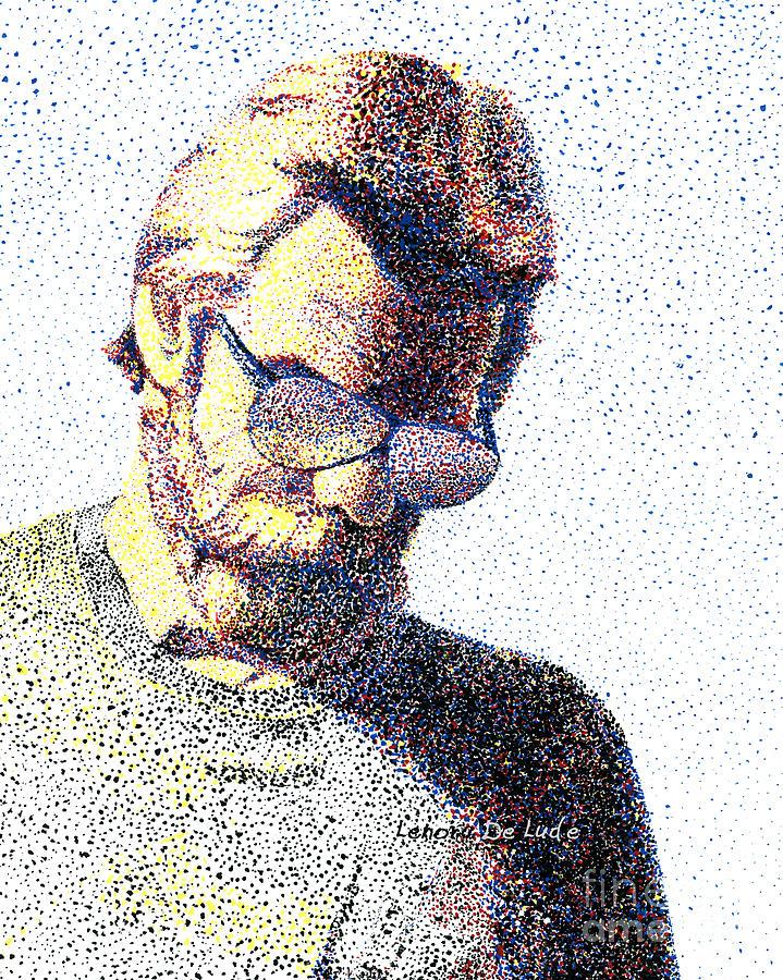 art pointillism male portrait painting by lenora de lude