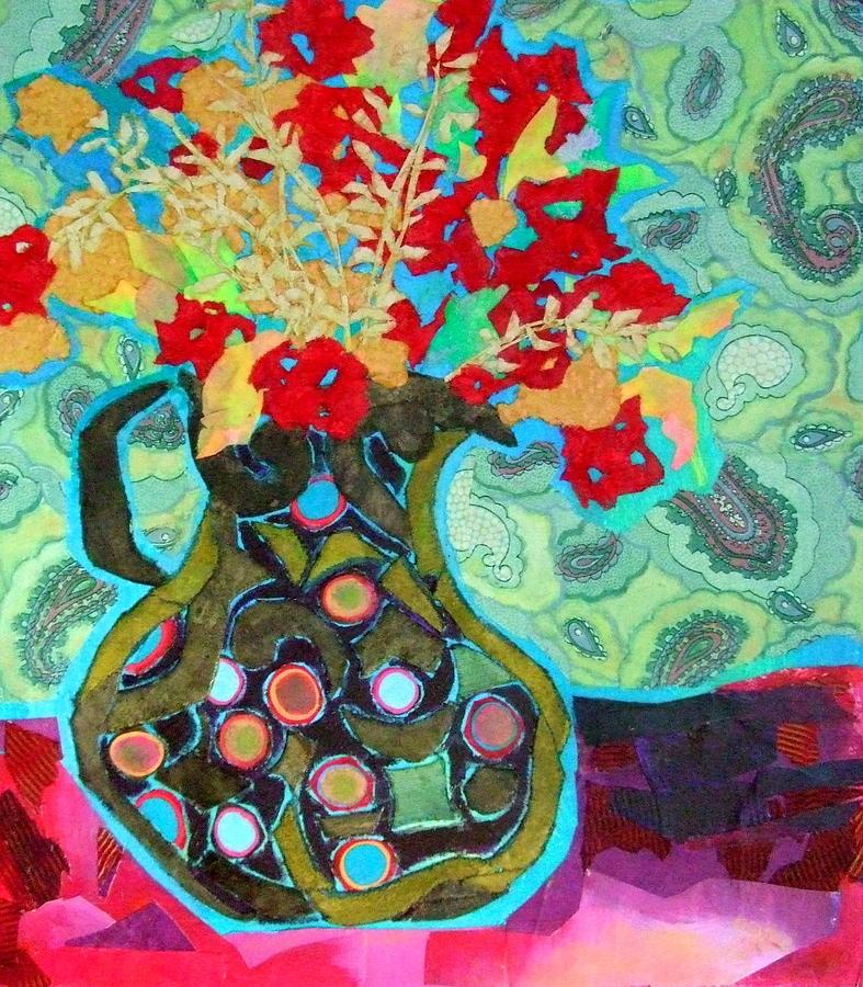 Flowers In A Vase Mixed Media - Artful Jug by Diane Fine