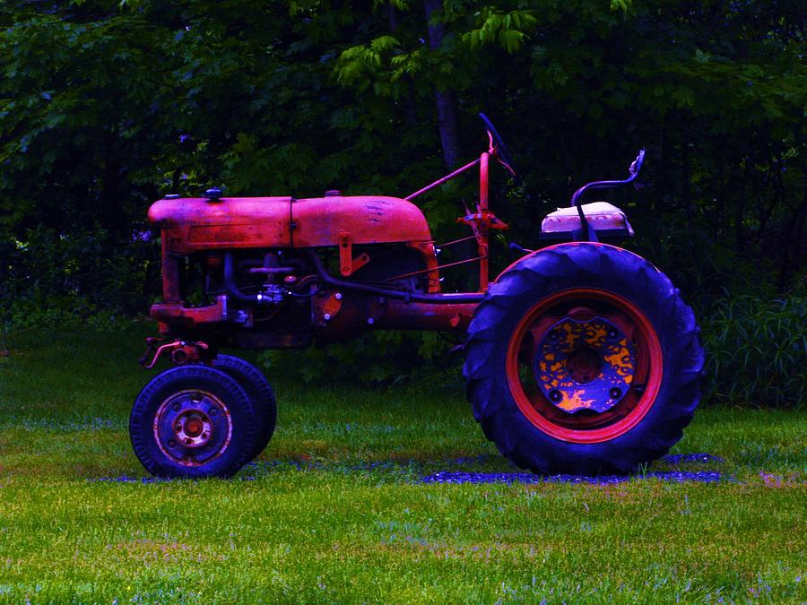 Color Photograph - Artful Tractor In Purples by Bill Tomsa