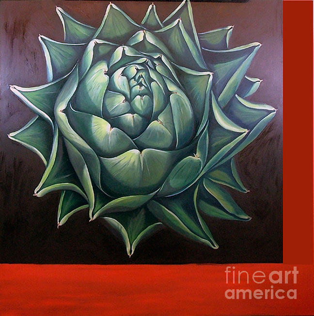 Green Painting - Artichoke by Shelley Laffal