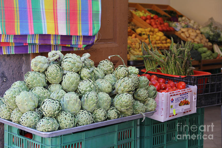 Artichokes Photograph - Artichokes And Asparagus Guanajuato by Linda Queally