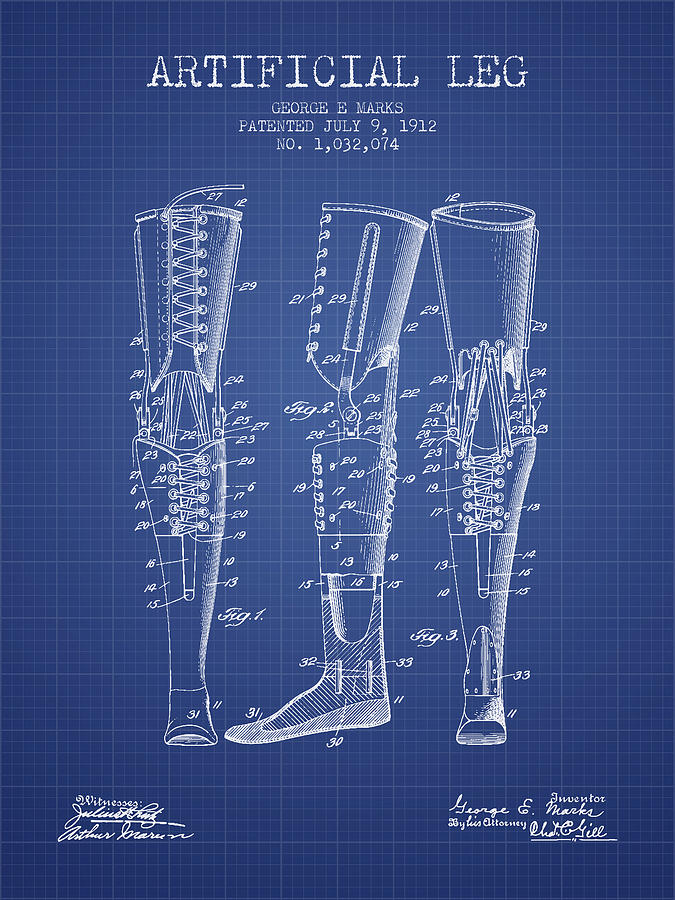 Artificial leg patent from 1912 blueprint digital art by aged pixel prosthesis digital art artificial leg patent from 1912 blueprint by aged pixel malvernweather Images