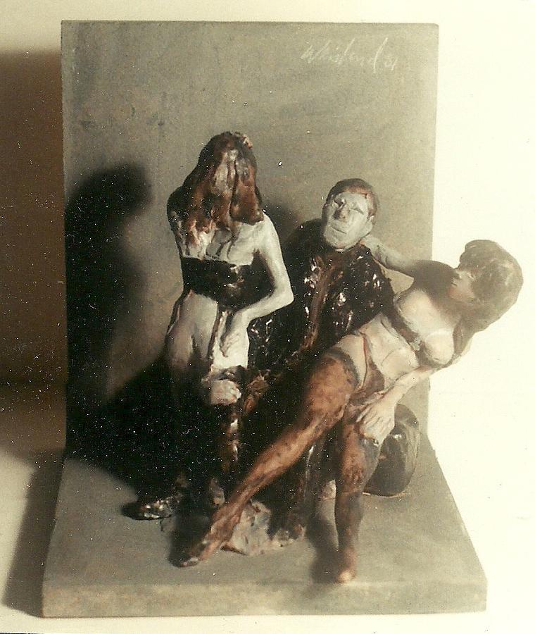 Erotic Sculpture - Artist 2 Models In Black Lingerie by Harry WEISBURD