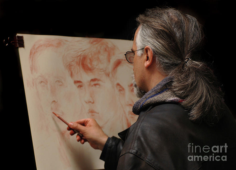 Italy Photograph - Artist At Work Florence Italy by Bob Christopher