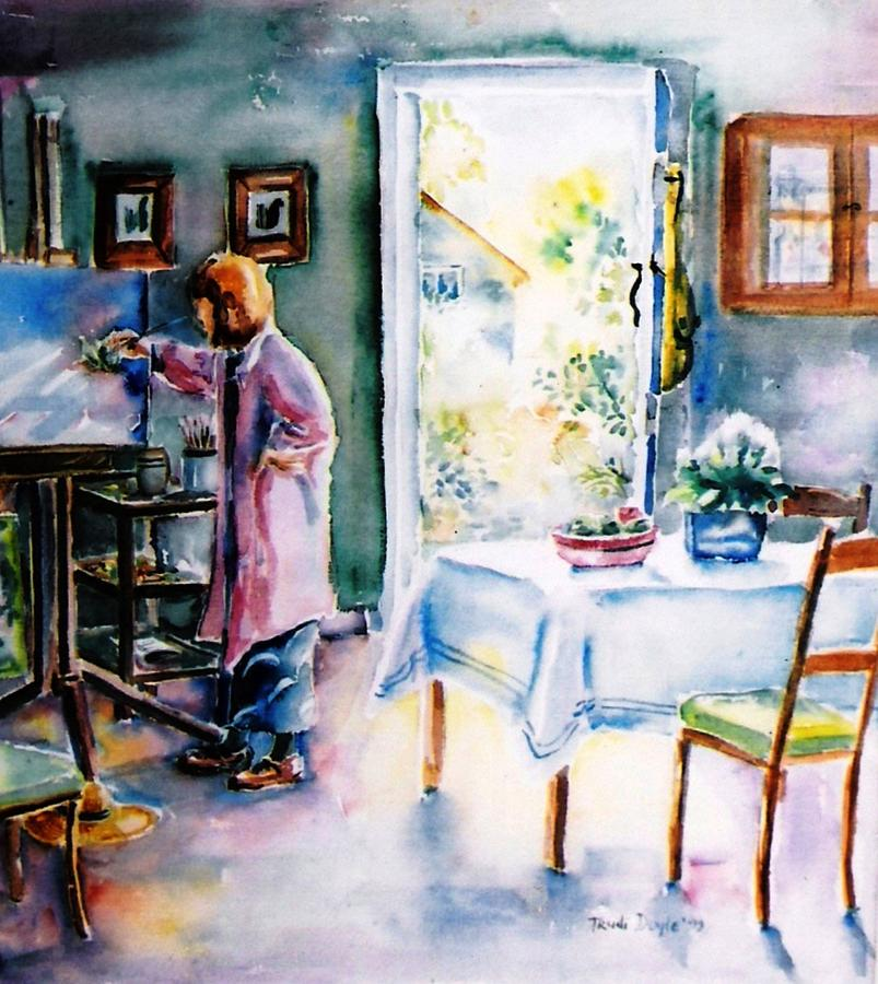 Watercolour Painting - Artist At Work In Summer  by Trudi Doyle