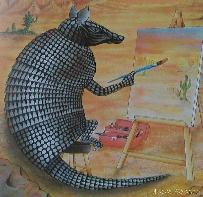 Armadillo Painting - Artistic Armadillo by Mark Barnett