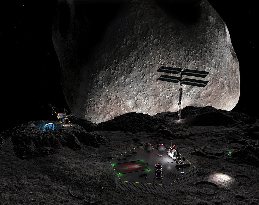 Artists concept of a mining settlement on the double asteroid 90 Antiope. Drawing by Stocktrek Images