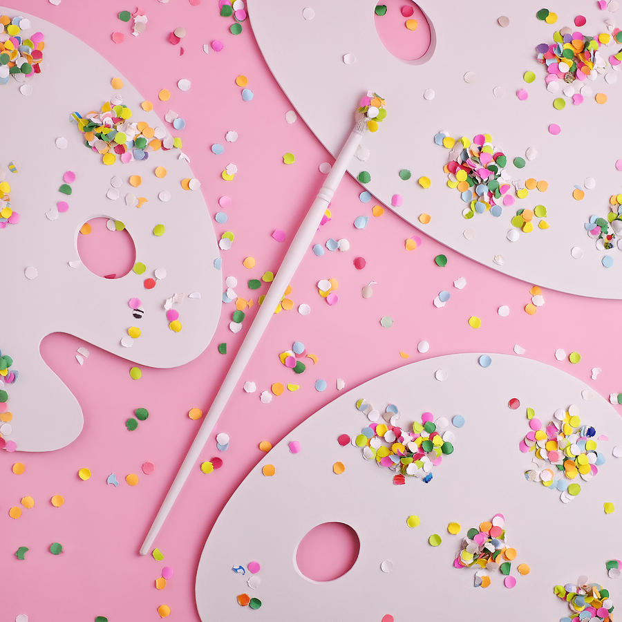 Artist Photograph - Artists Palettes With Confetti by Juj Winn