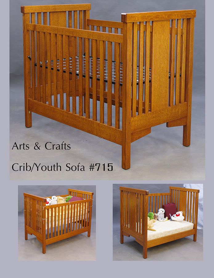 Crib Sculpture - Arts And Crafts Crib  by Dryad Studios