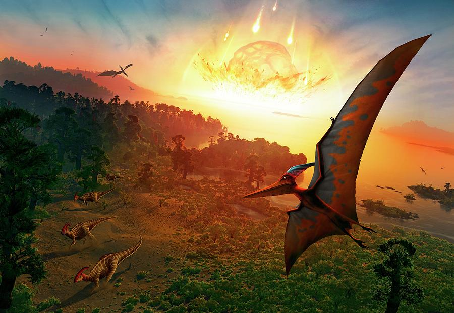 Dinosaur Photograph - Artwork Depicting Extinction Of Dinosaurs by Mark Garlick