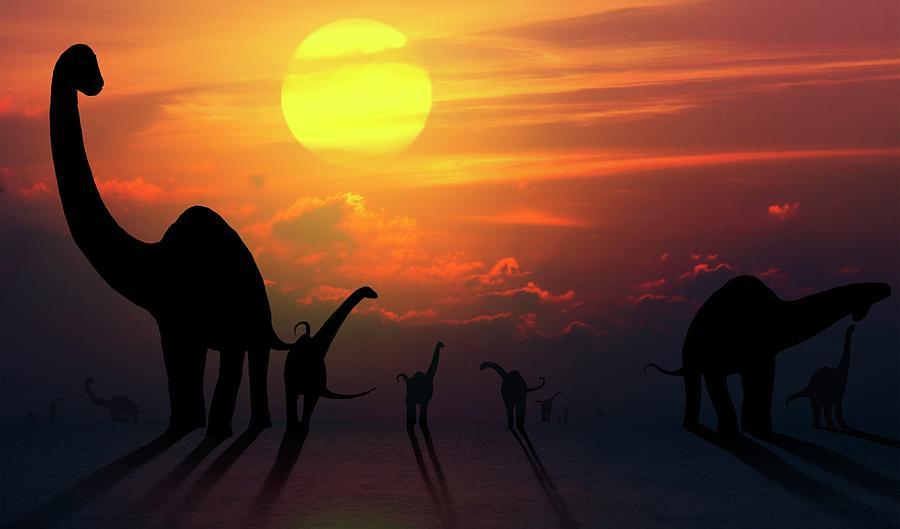 Artwork Photograph - Artwork Of Sauropod Dinosaurs At Sunset by Mark Garlick/science Photo Library