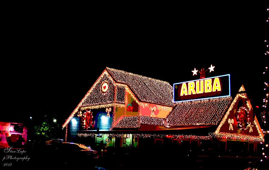 Christmas Lights Photograph - Aruba Beach Cafe-holiday Lights by Stanley Lupo