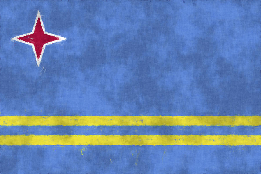 Aruba Digital Art - Aruba Flag by World Art Prints And Designs