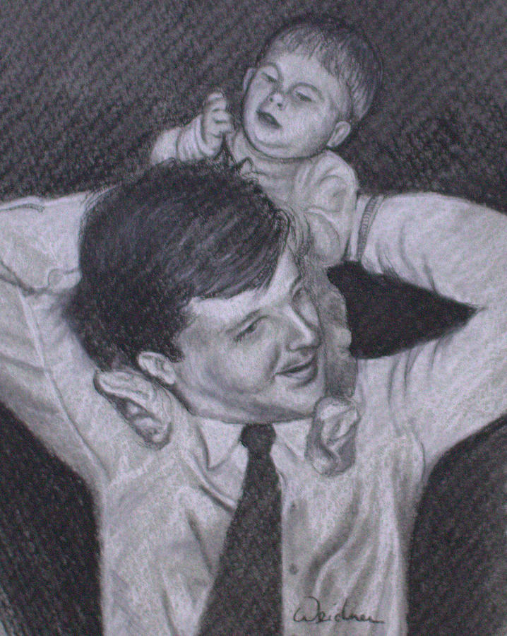 Father Drawing - As A Father Carries His Son by Kathy Weidner
