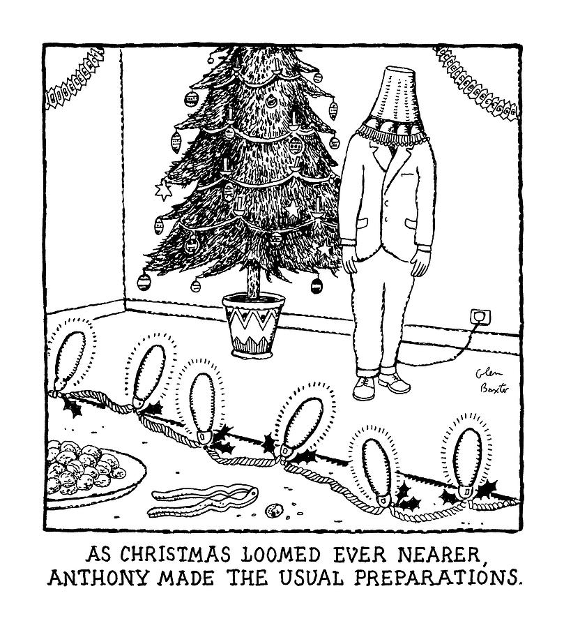 As Christmas Loomed Ever Nearer Drawing by Glen Baxter