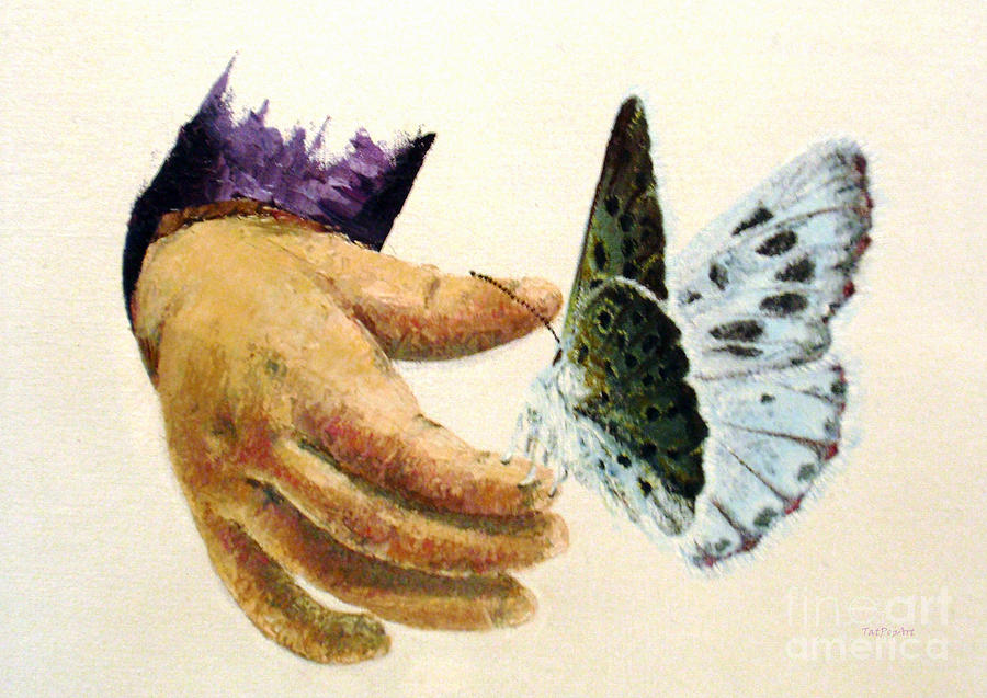 Oil Painting Painting - As Delicate As A Butterfly  by Tatjana Popovska