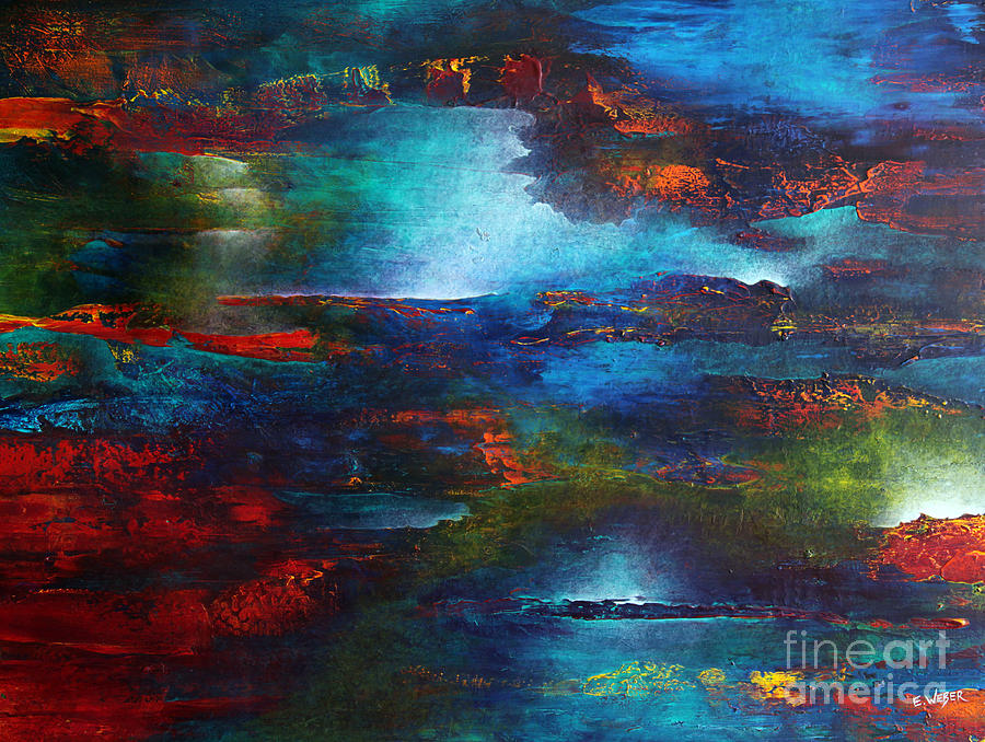 Abstract Painting - As My Sky Floated Upstream by Elizabeth Weber