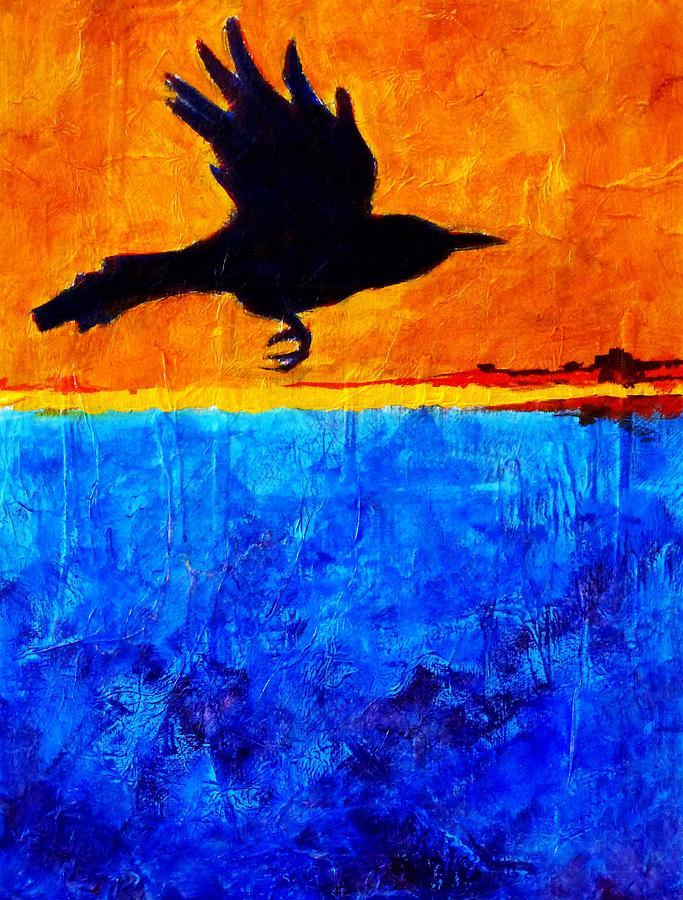 Crow Painting - As The Crow Flies by Nancy Merkle