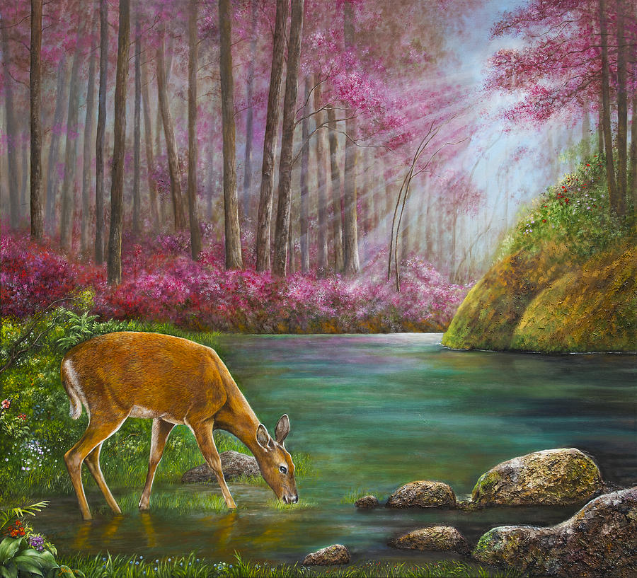 As The Deer Panteth For The Water Painting By Jan Camerone