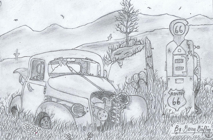 Vintage Gas Stations Drawing - As  The Time Goes On  by Gerald Griffin