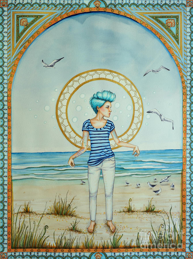 Sea Drawing - As The Wind Blows by Lucy Stephens