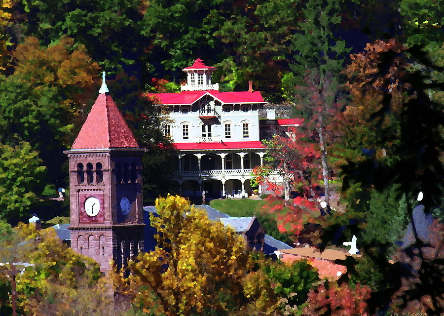 Jim Thorpe Pa Photograph - Asa Packer Mansion With Court House In Jim Thorpe Pa by Jacqueline M Lewis