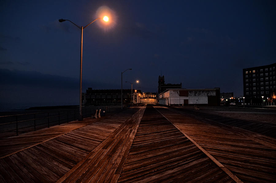 Asbury Photograph - Asbury Park Boardwalk At Night by Bill Cannon