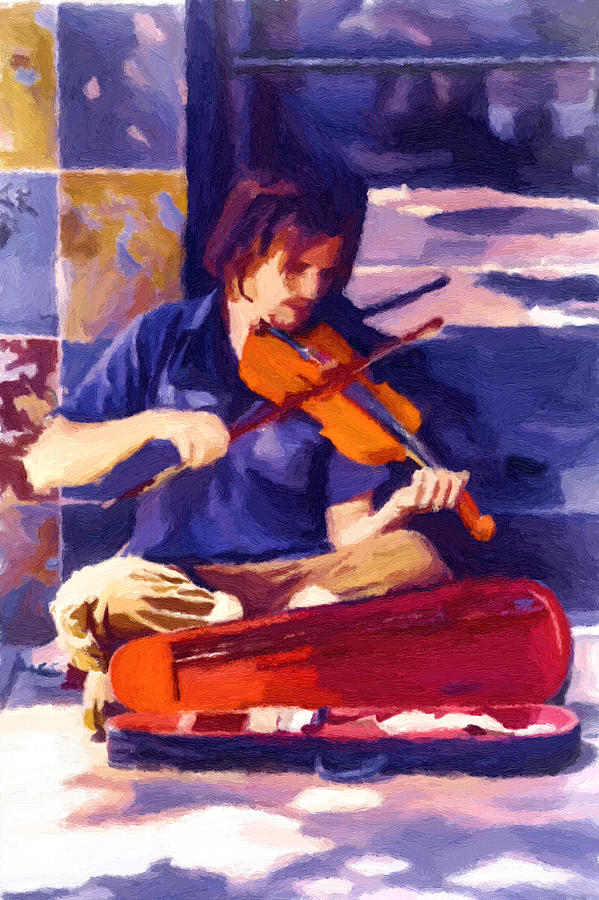 Music Painting - Asheville Street Concerto by John Haldane