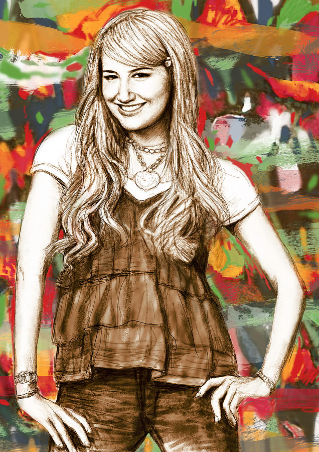 Portraits Drawing - Ashley Tisdale - Stylised Drawing Art Poster by Kim Wang