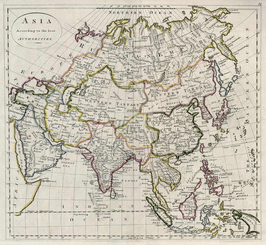 antique map photograph asia carey map 1814 by compass rose maps