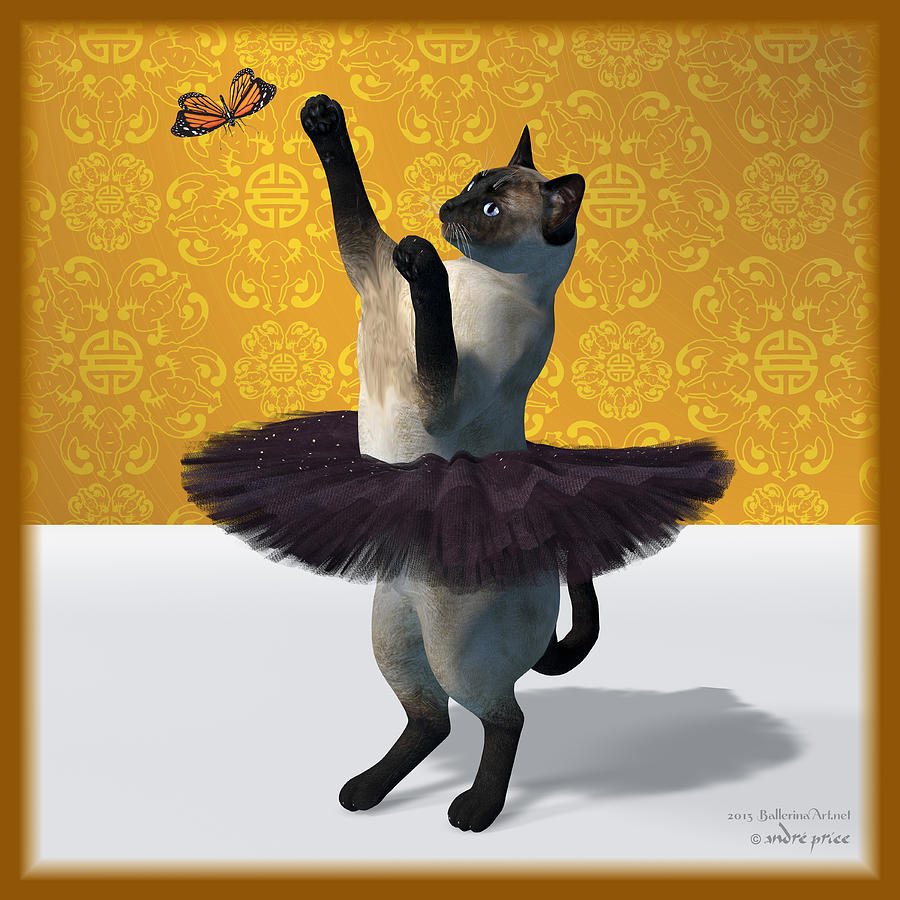 Asian Design Blue Siamese Ballet Cat On Paw-te Digital Art by Alfred ...