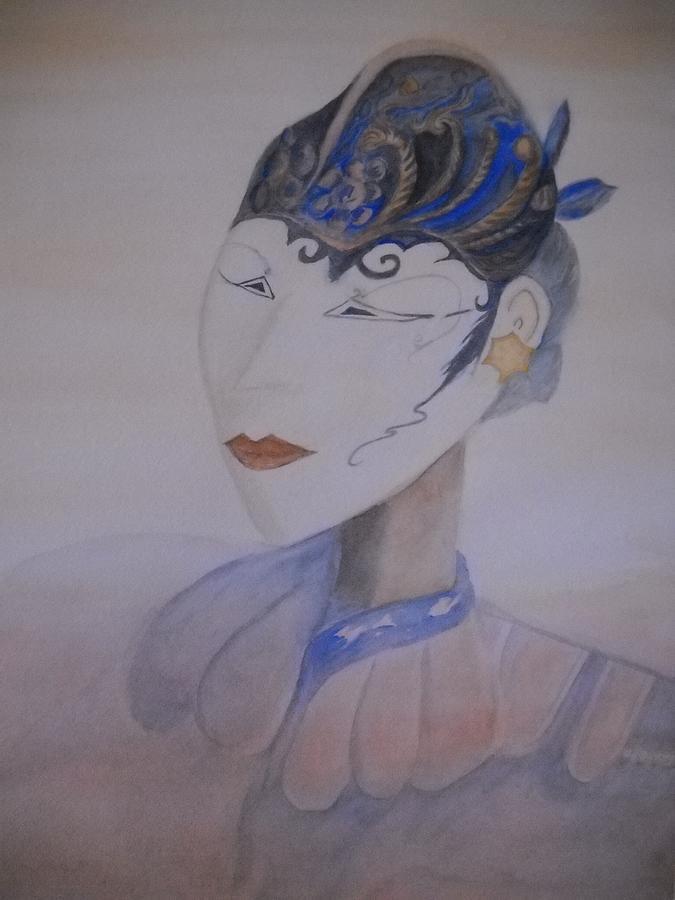 Asian Mask Painting - Asian Mask by Marian Hebert