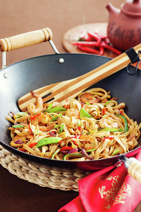 Asian Noodle In Wok Photograph by 5ugarless
