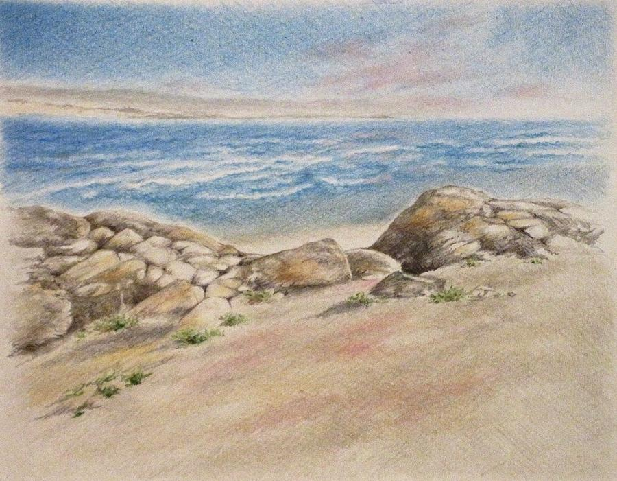 Seascape Drawing - Asilomar Rocks by Renee Goularte
