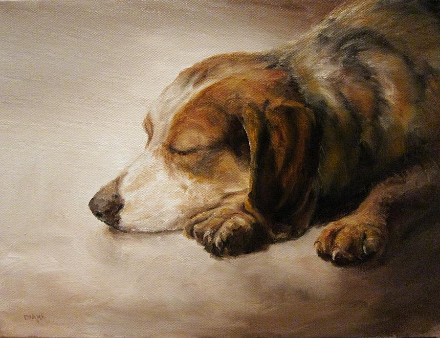 Canine Painting - Asleep by Diane Kraudelt