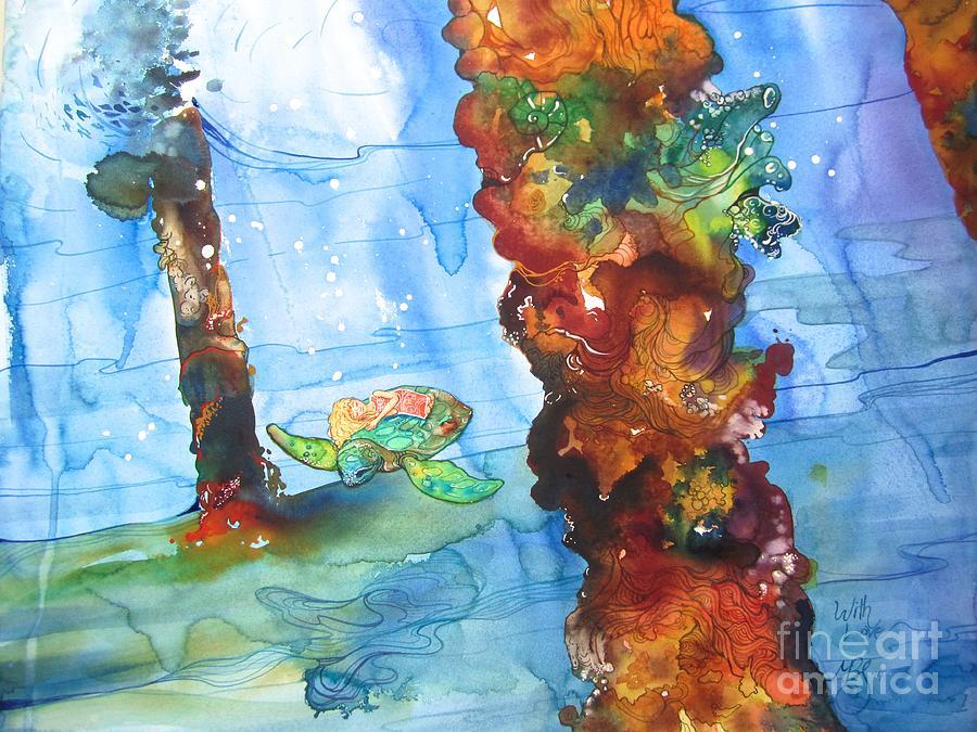 Turtle Painting - Asleep by Maya Simonson