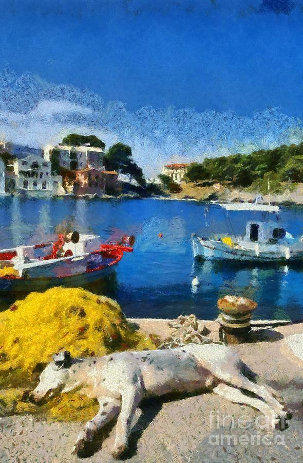 Sleep Painting - Asos Village In Kefallonia Island by George Atsametakis