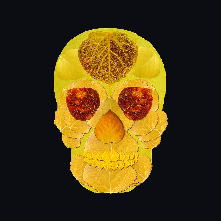 Aspen Leaf Digital Art - Aspen Leaf Skull 1 Black by Agustin Goba