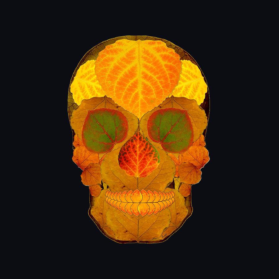 Aspen Leaf Digital Art - Aspen Leaf Skull 2 Black by Agustin Goba