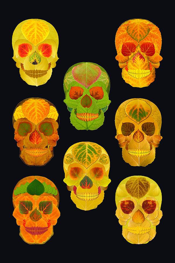 Aspen Leaf Photograph - Aspen Leaf Skulls Poster 2014 Black by Agustin Goba